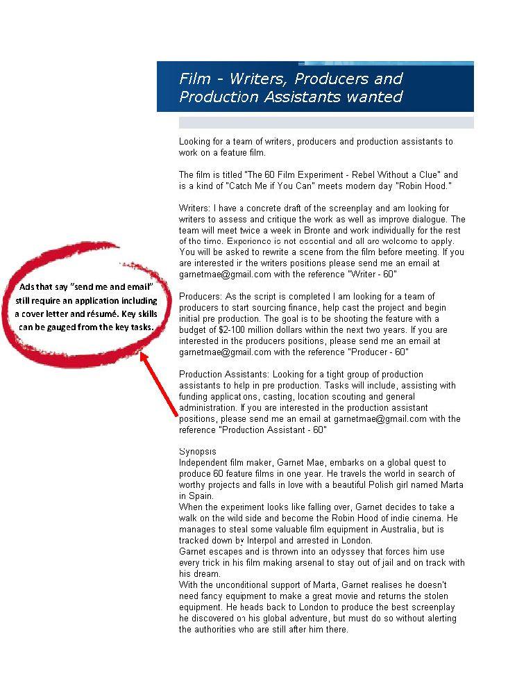 sample cover letter for film job