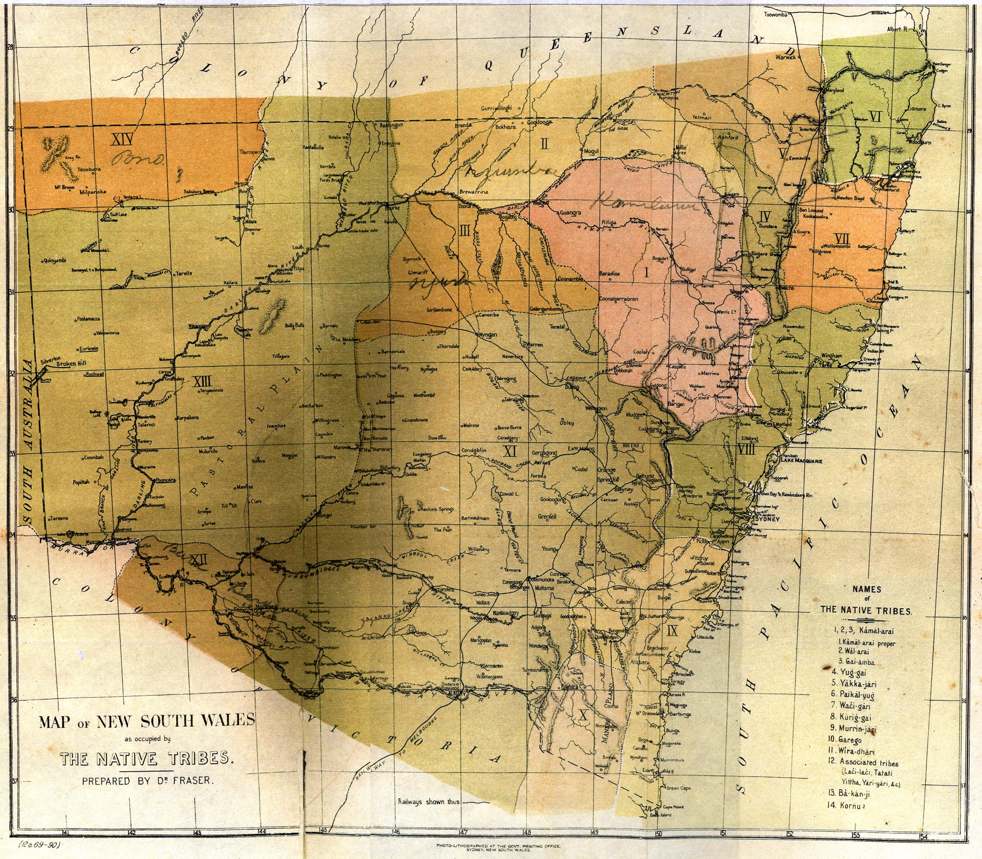 Map of New South Wales as occupied by The Native Tribes. Prepared by Dr John Fraser