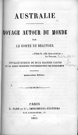 Title page of de Beauvoir's Australie