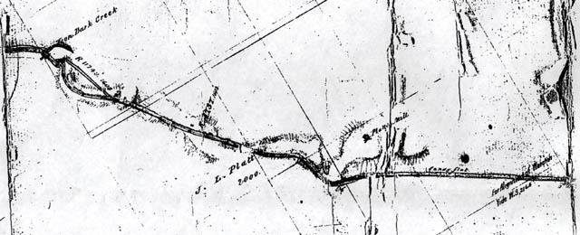 Maitland Road circa 1840 showing Platt's Mills
